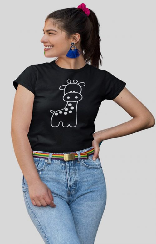 Cute Giraffe T Shirts for Womens Black