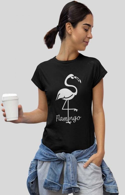 Flamingo Bird T-Shirt Womens Black