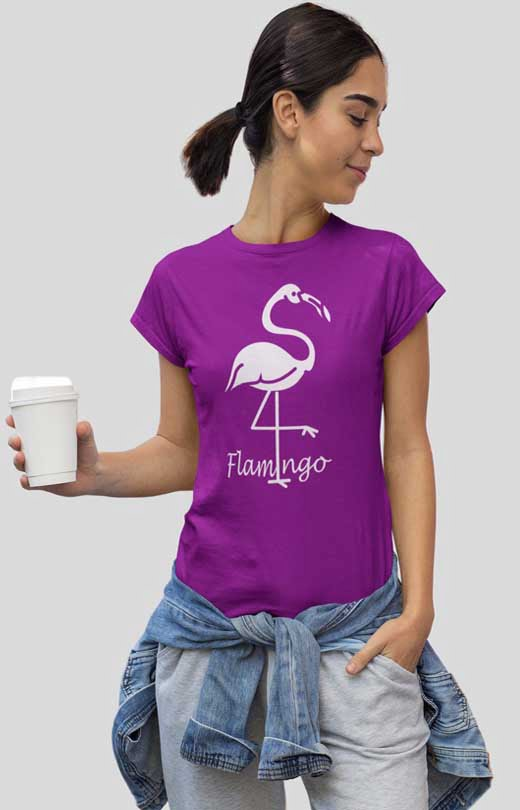 Flamingo Bird T-Shirt Womens Purple