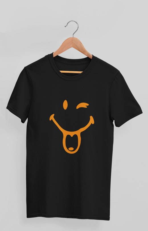 Happy Mood Naughty Smiley T shirt Black