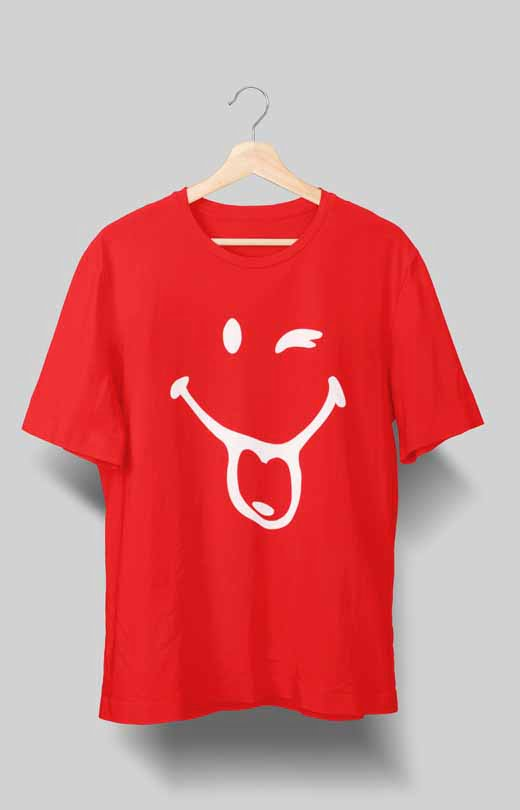 Happy Mood Naughty Smiley T shirt Red