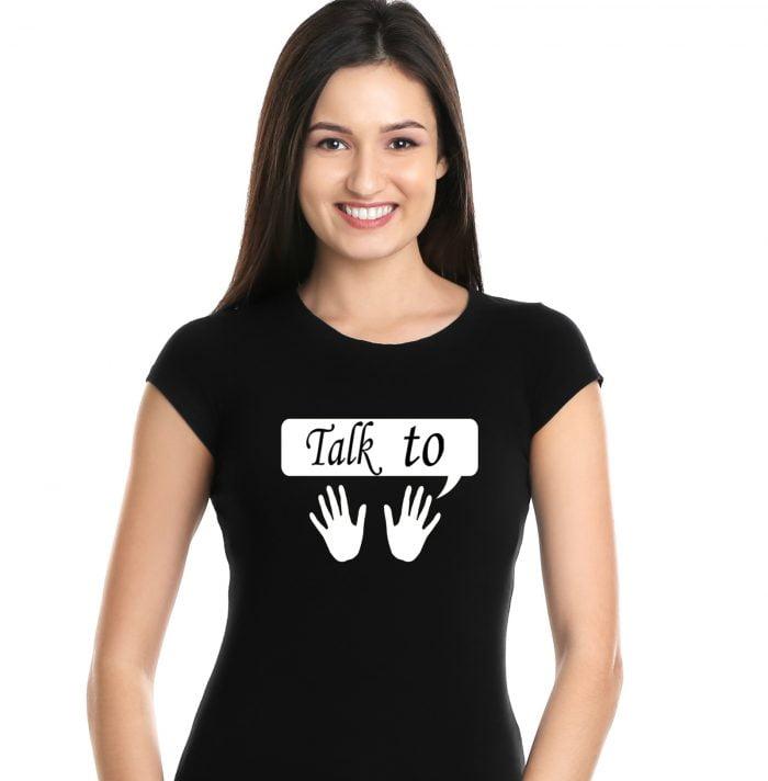 New Cute Design T-Shirt Women Black