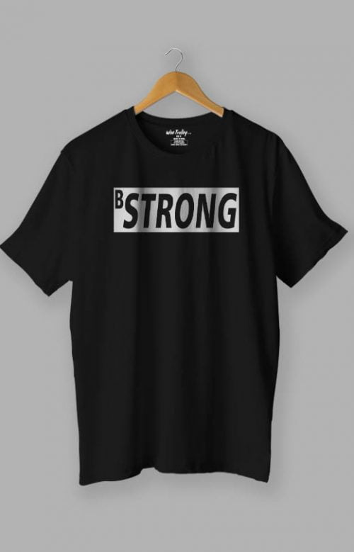 B Strong White T-Shirt for Man Black