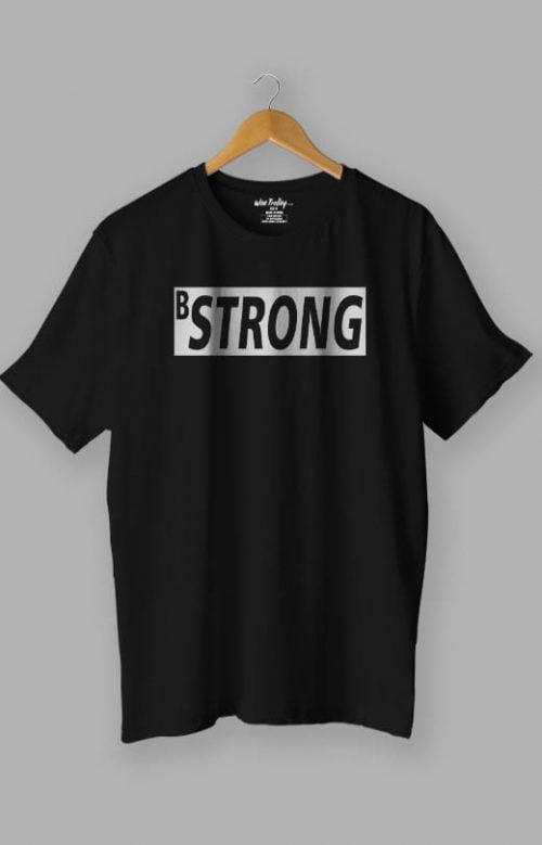 B Strong White T-Shirt for Man Black
