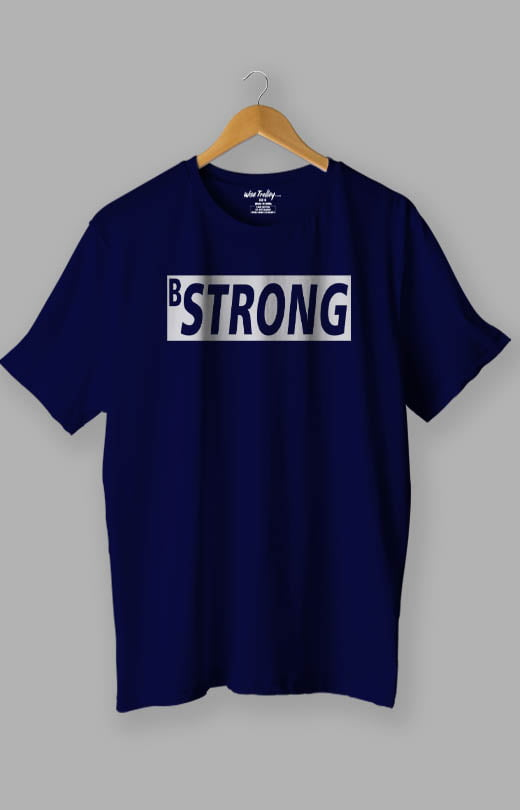 B Strong White T-Shirt for Man Blue