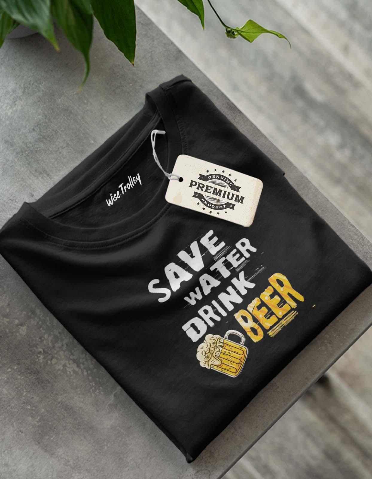 Save Water Drink Beer T Shirt Black