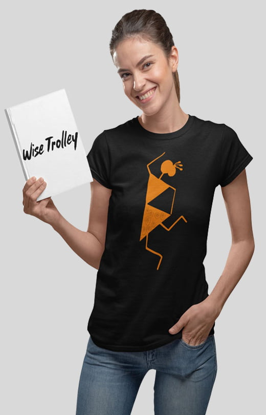 Warli Art Design T-Shirt Black