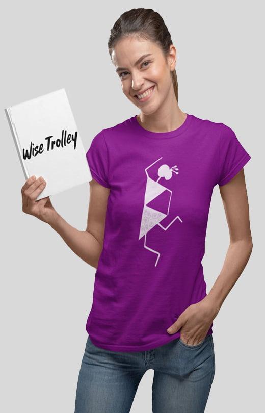 Warli Art Design T-Shirt Purple