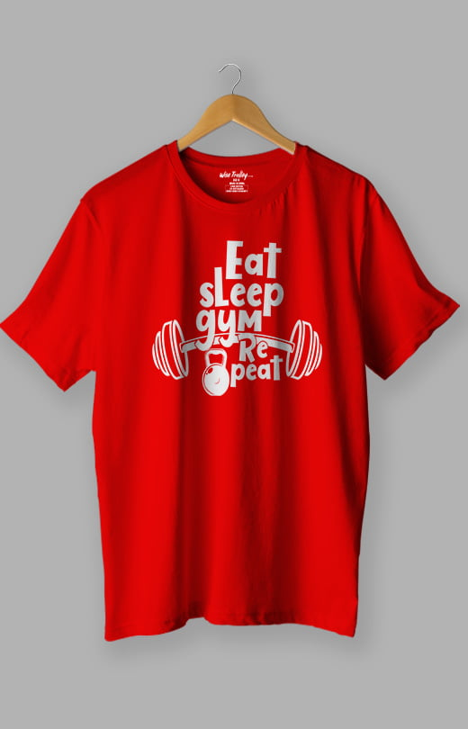 Eat Sleep Gym Repeat T Shirt for Men Red