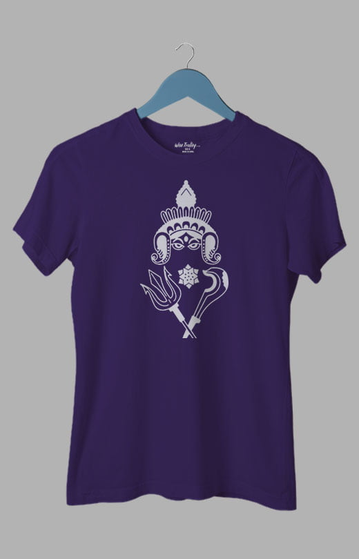 Goddess Durga Puja Bengali Festival T shirt for Women Purple