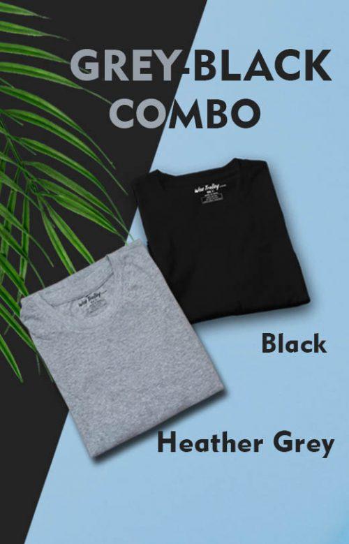 Grey & Black Colour Combo T shirt Pack