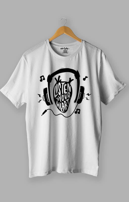 Listen to Your Heart Music Lover T shirt White