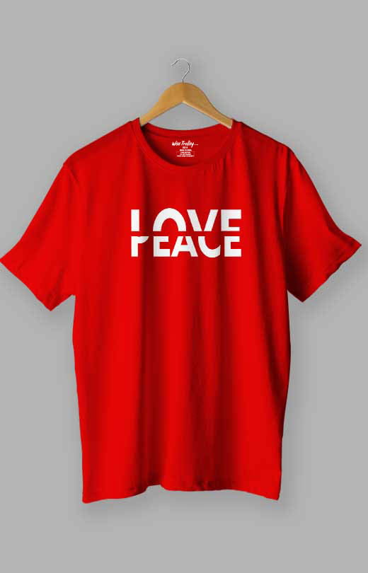 Love Peace T shirt Red