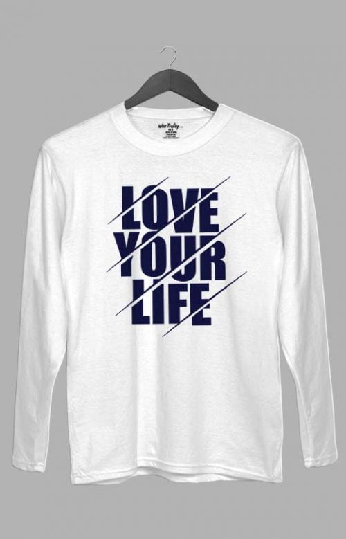 Love Your Life Long Sleeve T shirt for Men White