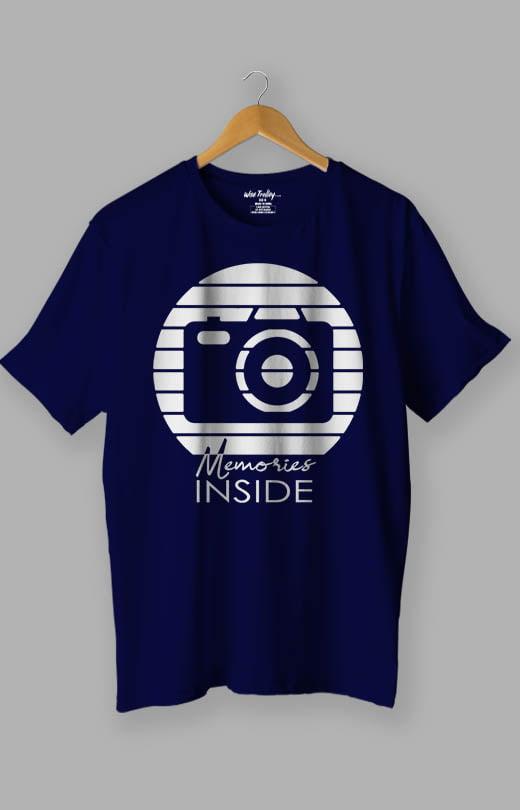 Memories Inside Photography T shirt Blue