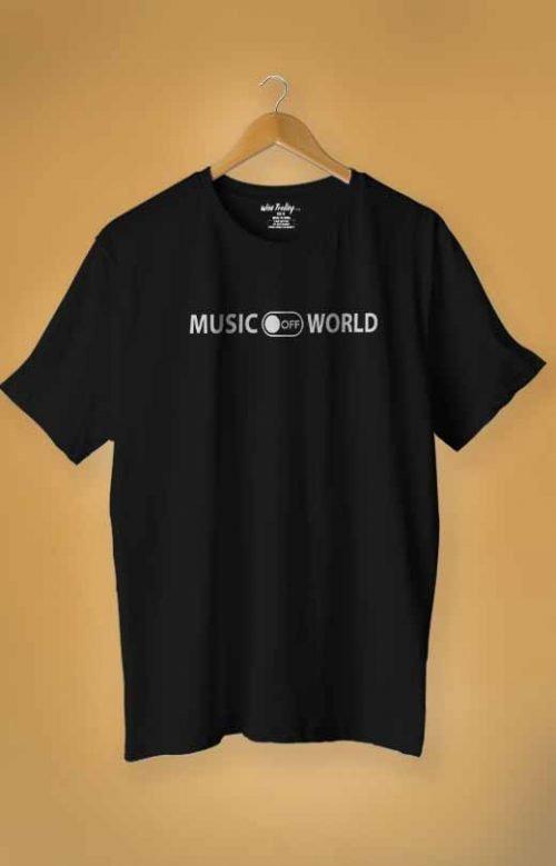 """Music on World off"" T-shirt Black"