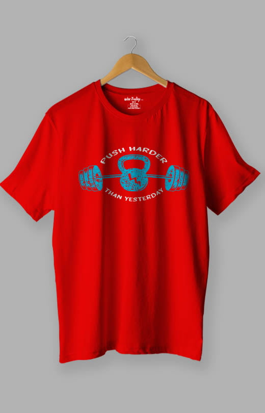 Push Harder Than Yesterday Gym T shirts for Men Red