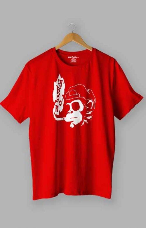 Smoking Monkey with attitude T Shirt Red