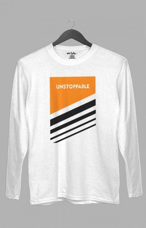 Unstoppable Full Sleeve T shirt White