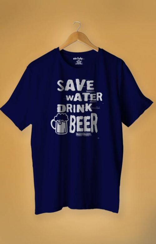 """""""Save Water Drink Beer"""" T Shirt Blue"""