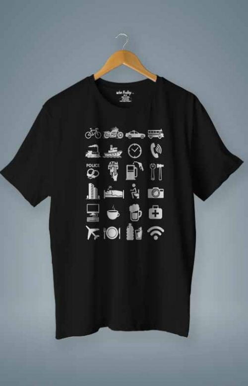 Travel Icon T shirt Black